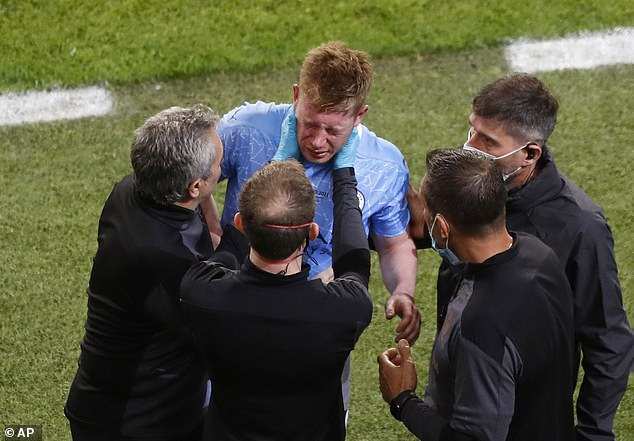 De Bruyne was forced off Saturday's Champions League final after fracturing his nose and eye