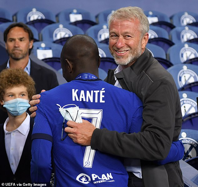 Kante's stunning showing in the final earned a hug from Chelsea owner Roman Abramovich