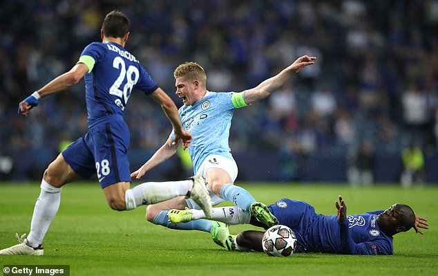 In a terrific display, he performed a sensational sliding tackle on Man City's Kevin de Bruyne