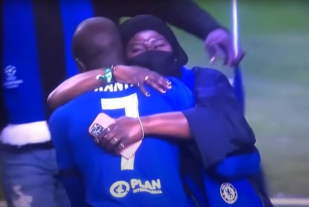 Kante hugs his mother amid the celebrations following Chelsea's victory in Porto