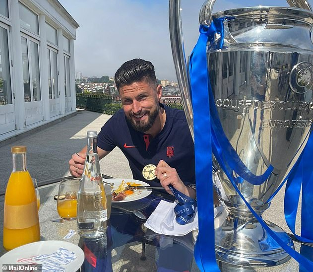Olivier Giroud and Cesar Azpilicueta have been making the most of Chelsea's new silverware