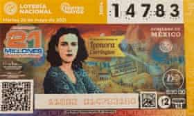 Honoured … the artist on a Lotteria Nacional ticket.