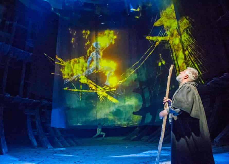 Mark Quartley (Ariel) and Simon Russell Beale (Prospero) in The Tempest.