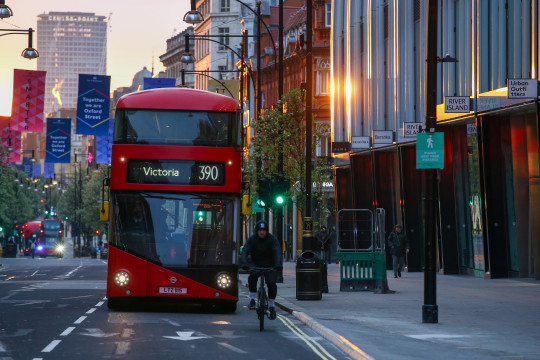 A London bus on the road