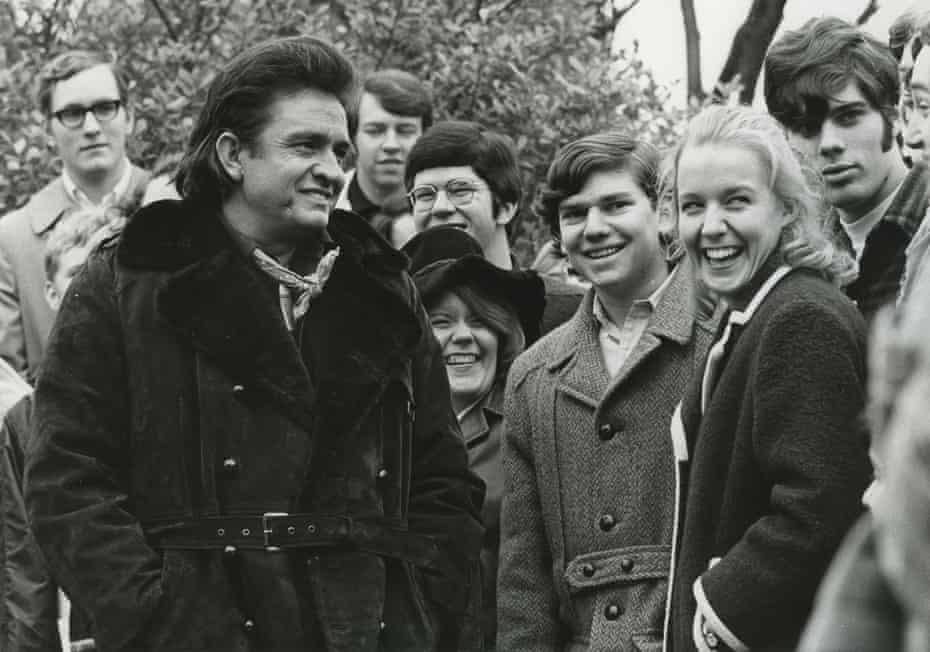 Johnny Cash speaks with students during a 1971 visit to Vanderbilt University, Nashville.