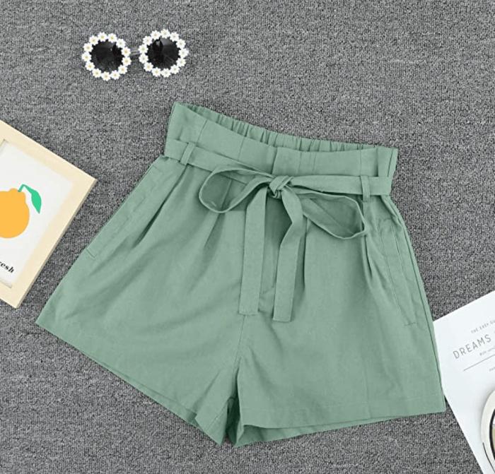 Paitluc Women's Elastic Waist Side Pockets Ruffle Linen Shorts