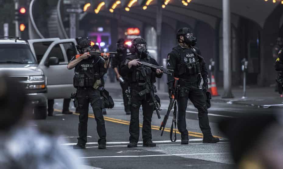 Police in Spokane, Washington on 31 May last year.