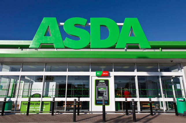 Front entrance and sign at main entrance of an ASDA retail supermarket in Dorset.