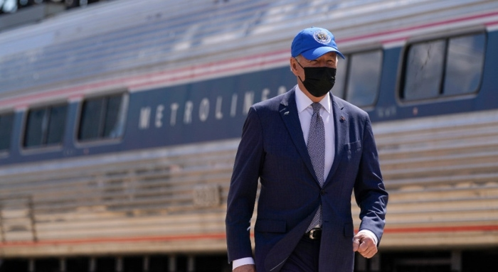 President Joe Biden arrives to speak at an event to mark Amtrak's 50th anniversary at 30th Street Station in Philadelphia, Friday, April 30, 2021.