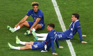 Chelsea's English trio of Reece James, Mason Mount and Ben Chilwell take it all in after the Champions League final win in Porto.