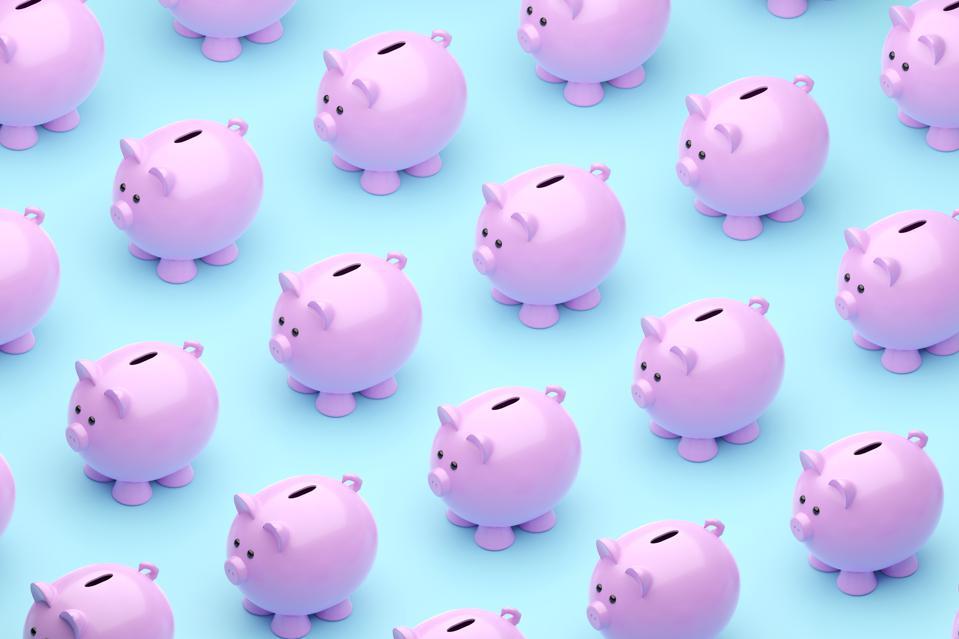 Piggy banks on a blue background