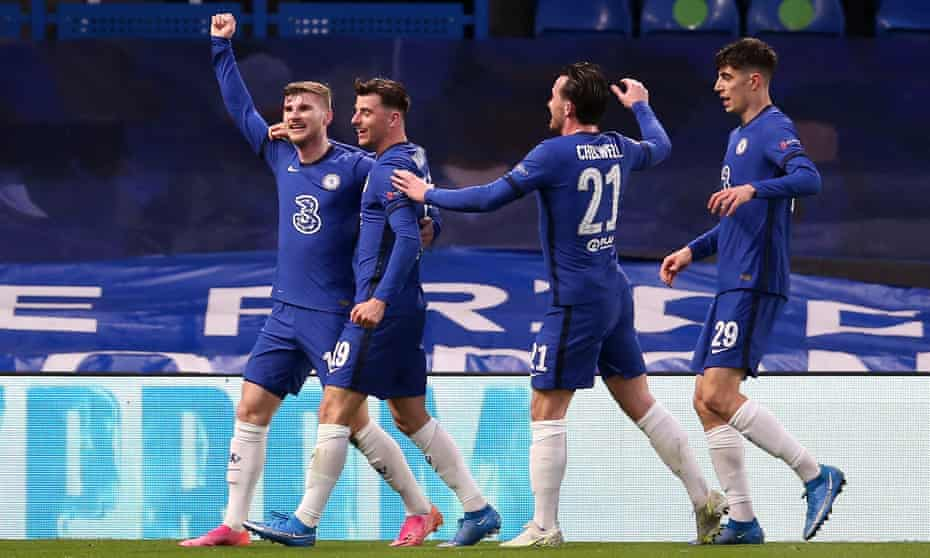Timo Werner celebrates his goal against Real Madrid with Mason Mount, Kai Havertz and Ben Chilwell.