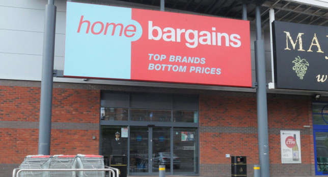 A storefront for a Home Bargains store in the UK.