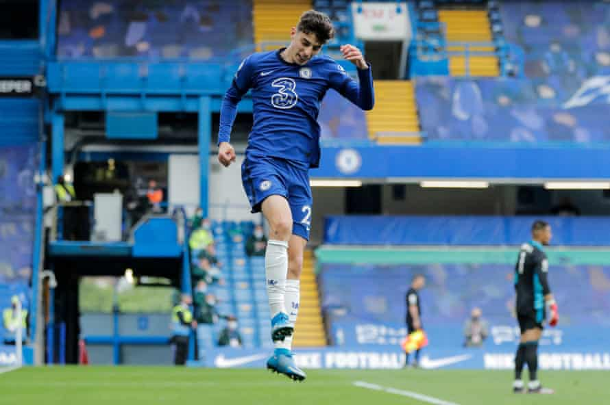 Kai Havertz jumps for joy after scoring the second goal for the Blues.