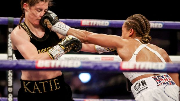 Jona catches Taylor with a left hand. Photo: Dave Thompson/Matchroom Boxing/Inpho