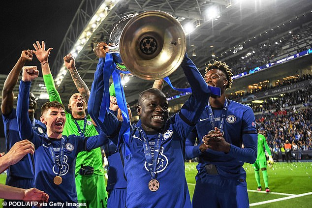 N'Golo Kante lifts the Champions League trophy after helping Chelsea beat Manchester City