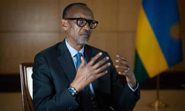 Rwanda's President Paul Kagame speaks during an interview with international media in Kigali on 28 May.