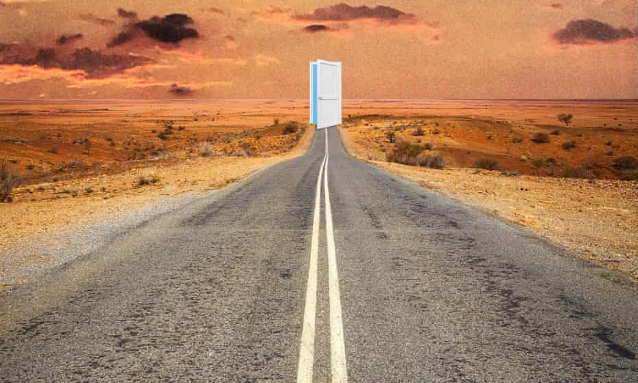 illustration of a road with an open door at the end