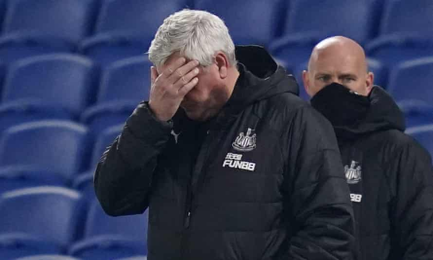 Steve Bruce is unable to watch as Newcastle are beaten 3-0 by Brighton at the Amex in March.