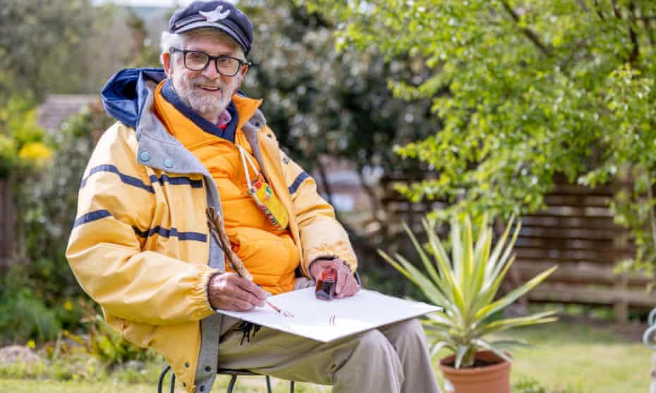 Philip Sutton sketching in his daughter's garden