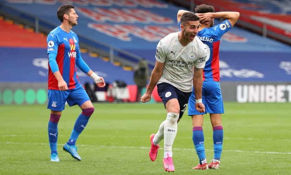 Ferran Torres celebrates scoring Manchester City's second goal at Crystal Palace