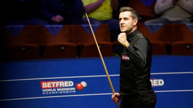 Mark Selby celebrates his semi-final victory at The Crucible in Sheffield. Photograph: PA