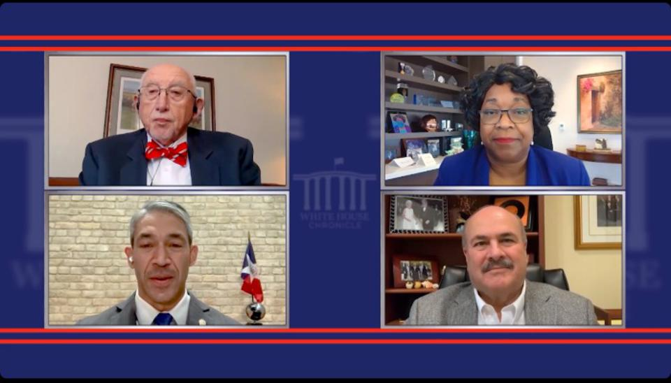 A screenshot of a episode of ″White House Chronicle″ on PBS showing Host Llewellyn King, Paula Gold-Williams of CPS Energy, Clinton Vince of Dentons, and San Antonio Mayor Ron Nirenberg.