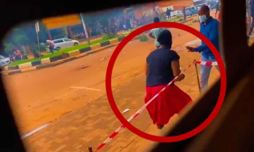 A still from footage analysed by BBC Africa Eye, showing Kamuyat Ngobi circled.