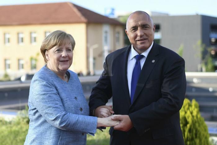 Angela Merkel, left and Boyko Borisov, right
