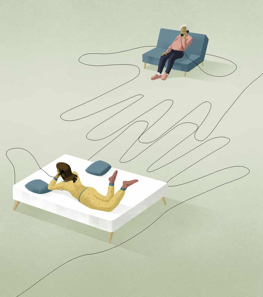 Illustration of a woman lying on a bed on the phone and an old man on a sofa/chair on the phone and wire from their phones forming two hands in between them
