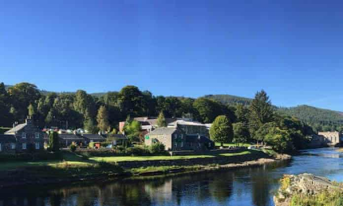 Pitlochry Festival Theatre from across the River Tummel, Perthshire, Scotland, UK.