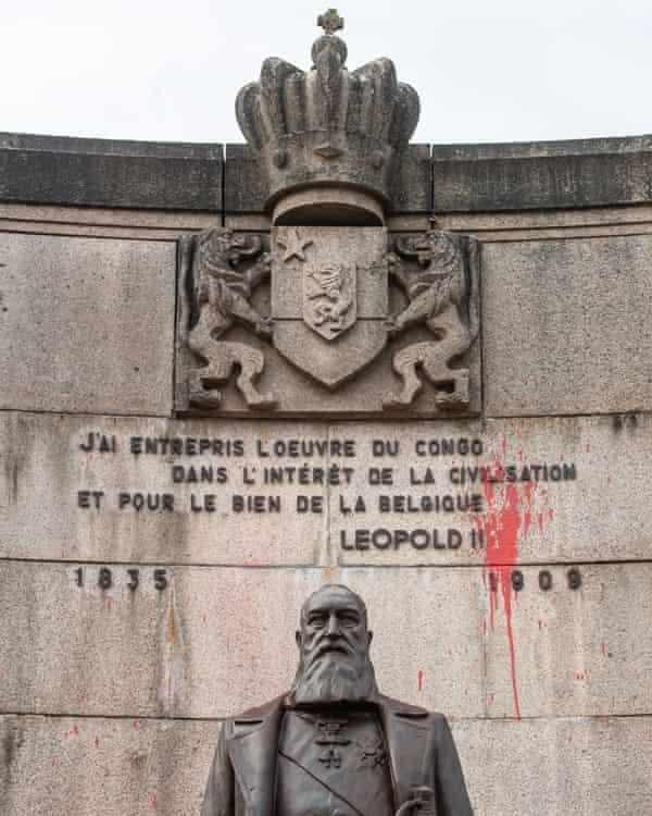 A defaced statue of Leopold II in Arlon, Belgium last year.