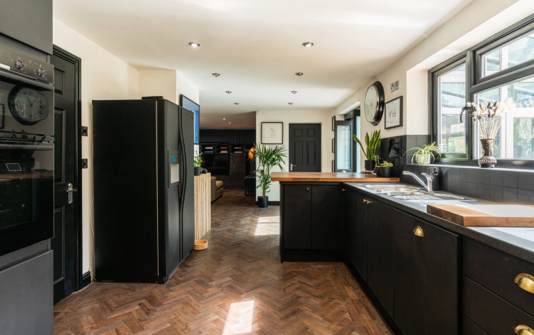 kitchen in the almost black house