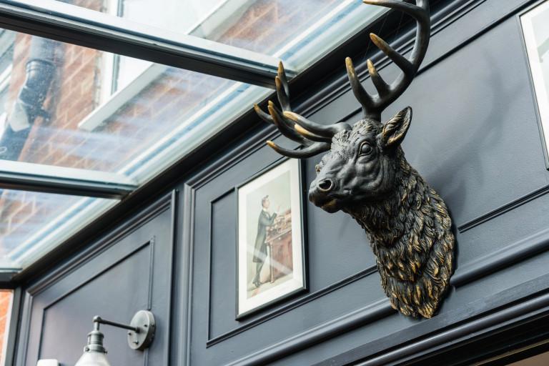 metal deer head in conservatory