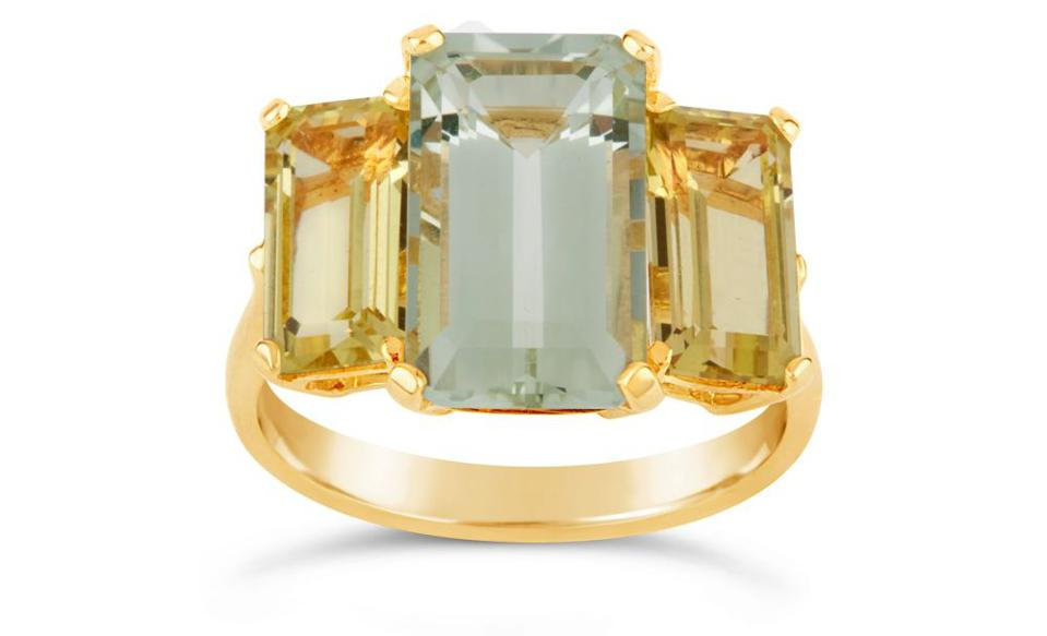 Trinny Trilogy Green Amethyst and Oro Verde Ring by Dinny Hall