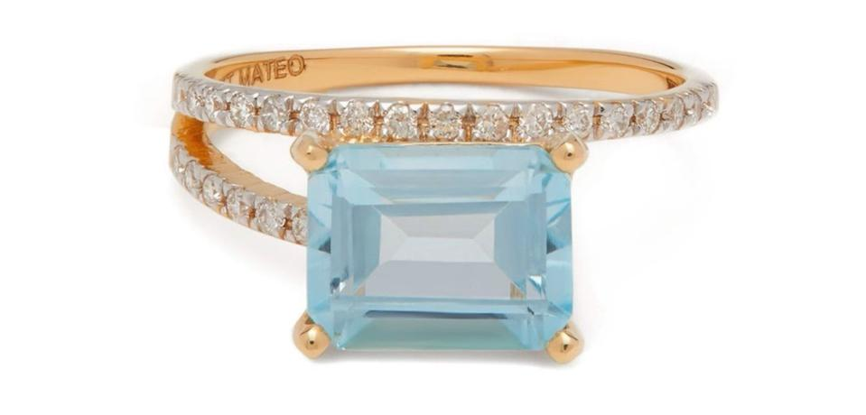 Point of Focus Diamond, Topaz & 14kt Gold Ring by Mateo