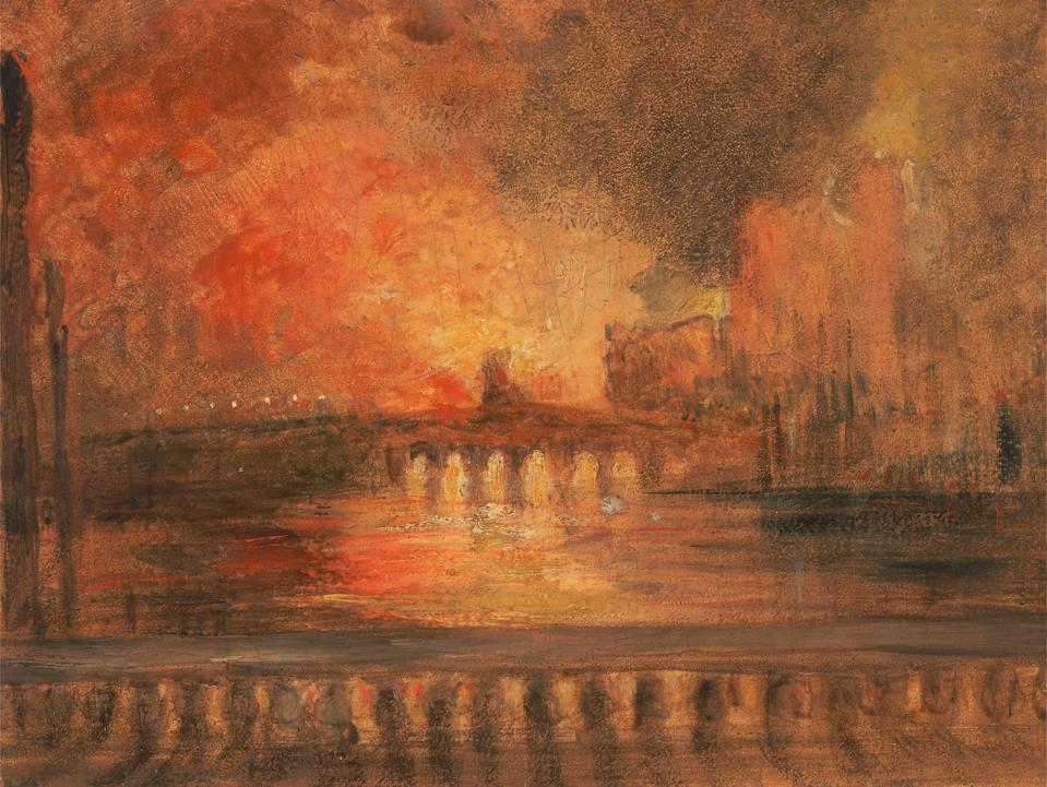 The Burning of the Houses of Parliament, unknown artist, nineteenth century, Formerly Joseph Mallord William Turner, 1775–1851, British, ca. 1834, Oil on panel, Support (PTG): 5 1/2 x 7 1/2 inches (14 x 19.1 cm), bridge (built work), brushstrokes, burnin