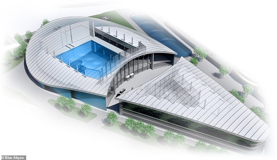 Concept image released byBlue Abyss shows the unusual building that will house the pool. The design is byRobin Partington, wholed the design team for The Gherkin in London