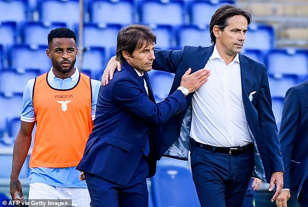He replaces Antonio Conte (C) who left the San Siro in frustration at a lack of resources