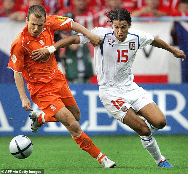 Holland and Czech Republic played one of Euro 2004's best games with the latter triumphing 3-2. Pictured, Dutch winger Arjen Robben (left) fends off tournament top scorer Milan Baros
