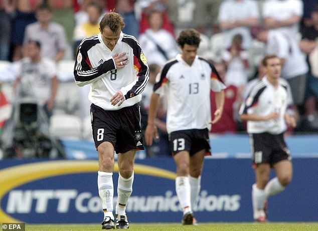 Germany failed to win a game as they also departed Euro 2004 before the quarter-finals