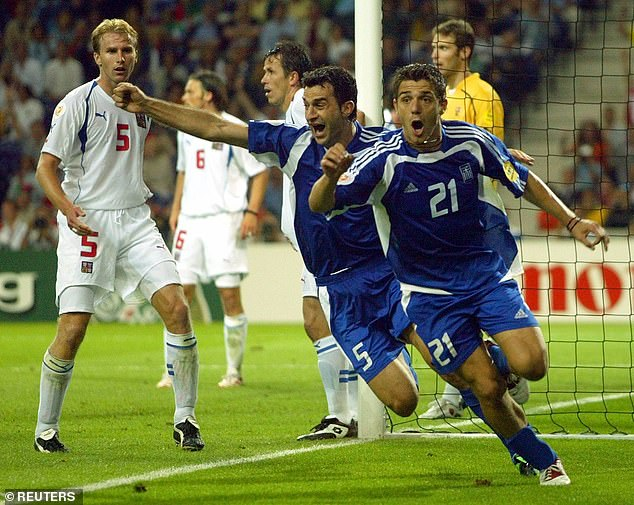 In the semi-finals, Greece's Traianos Dellas (5) scored a silver goal in extra-time to help beat Czech Republic 1-0 to set up another meeting with Portugal in a Lisbon final