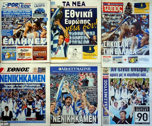 The Greek press were united in joy for Greece who stunned the world with their triumph
