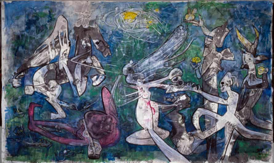 Roberto Matta, Worldly and Nude, Freedom Against Oppression, 1986