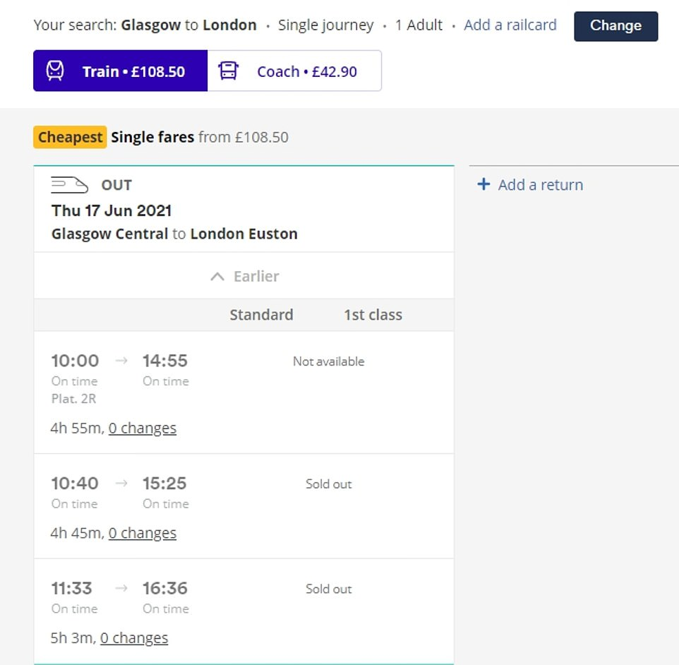 All 15 of the train services going straight to London from Glasgow in time for the match on Friday were sold out by Monday this week. Pictured: Trainline search results for