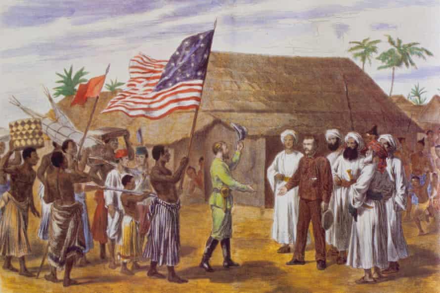 Popular image of 'lone' explorer David Livingstone meeting Henry Stanley in 1871.