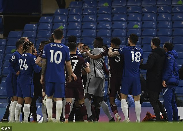 A tackle by Foxes full-back Ricardo Pereira on Ben Chilwell sparked a 20-man melee