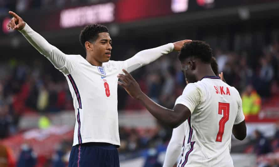 Bukayo Saka celebrates his first England goal with Jude Bellingham on an impressive night for both youngsters.