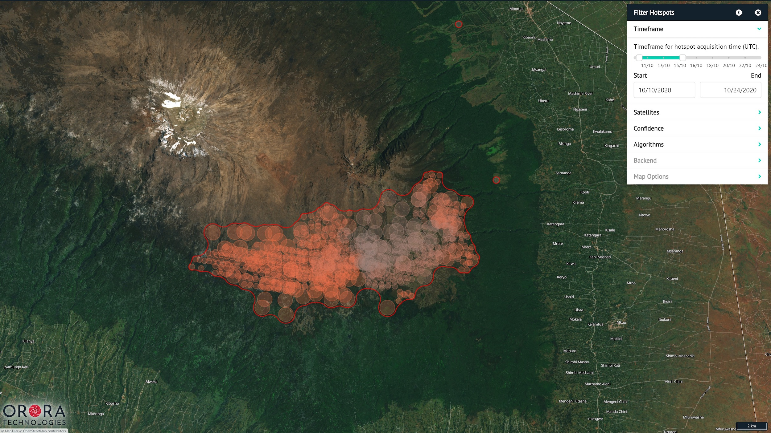 Screenshot of OroraTech wildfire monitoring software showing heat detection in a forest.