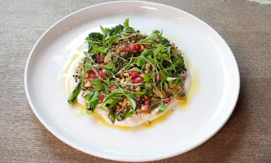 'Bejewelled with pomegranate seeds': charred tenderstem broccoli.